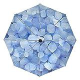 ミヤビヤ ワンタッチ 折り畳み傘 紫陽花柄 あじさい柄 ブルー 高級 8本骨 60cm 可愛い 母 結婚式 結婚祝い 雑貨 グッズ 妻 内側 贈り物