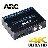 BLUPOW 4K×2K 2160P 3D HDMI 分離音声 ARC対応 HDMI入力→HDMI+SPDIF+RCA R/L出力(光デジタル/アナログステレオ出力)hdmi 音声分離器 hdmiサウンド分離器 hdmi分配器 hdmiデジタルオーディオ分離器 PS3/PS4/Blu-ray/HD DVD/TV BOX/Fire TV など対応(日本語取説PDF)