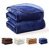 MAEVIS 毛布 マイクロファイバー  フランネル ふんわり やわらか ブランケット 発熱 保温  静電気防止 柔らかい肌触り 洗える シングル ネイビー
