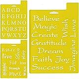 Plaid ステンシルシート Fonts & Phrases 17.8cm×25.2cm 3枚セット DT97219