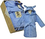 出産祝い 男の子にオーガニックコットン ベビーバスローブ ブルー(ギフトラッピング) (74/80(80cm))