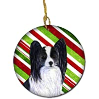 Carolines Treasures SS4574-CO1 Papillon Candy Cane Holiday Christmas Ceramic Ornament