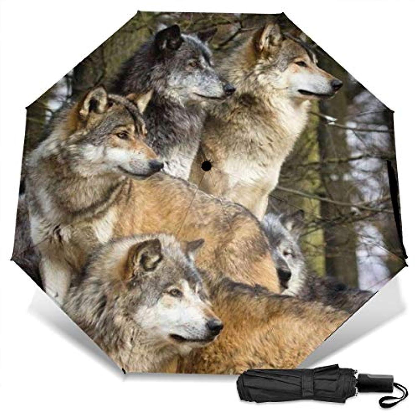 宝石地味な下品狼の野生動物デザインのグループ折りたたみ傘 軽量 手動三つ折り傘 日傘 耐風撥水 晴雨兼用 遮光遮熱 紫外線対策 携帯用かさ 出張旅行通勤 女性と男性用 (黒ゴム)