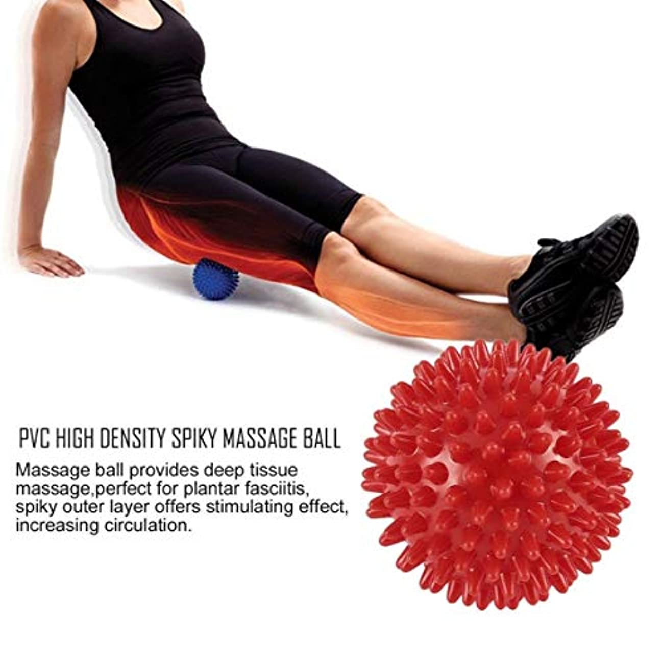メタンクリークスムーズにPVC High Density Spiky Massage Ball Foot Pain & Plantar Fasciitis Reliever Treatment Hedgehog Ball Massage Acupressure...