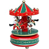 Kids Funny Wooden Merry-Go-Round 4-Horse Rotate Carousel Music Box Toy Christmas Gift Red [並行輸入品]