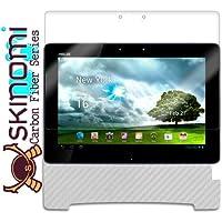 Skinomi TechSkin–Asus Transformer Pad tf300スクリーンプロテクター+カーボンファイバーシルバーフルボディスキン(キーボード互換) /フロント&バックプレミアムHDクリアフィルム/ Ultra Invisible &アンチバブルシールド
