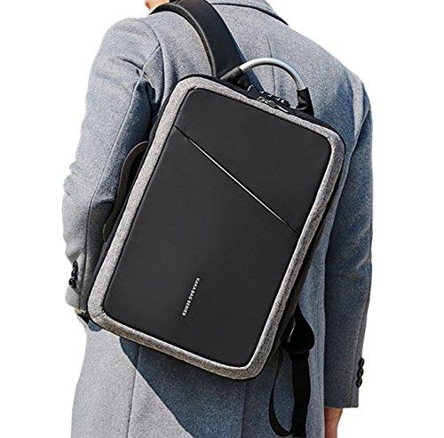 3WAY バッグ ビジネス 防水 盗難 防止付 充電ケーブル リュック メンズ 出張 ビジネス 軽量 A4 PC収納 スクエアリュック (グレー)
