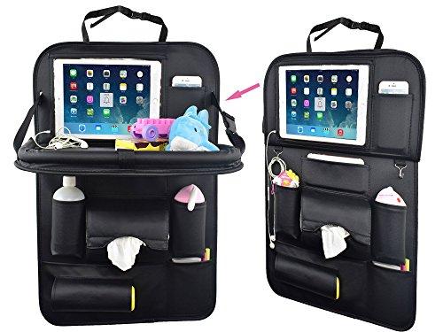 YOOSUN 車用収納ポケット シートバックポケット車内 テーブル 多機能収納 ホルダー レザー製折りたたみテーブル後部座席子供用パソコン 水筒、Ipad収納ポケット (黒, 1個(テーブル)