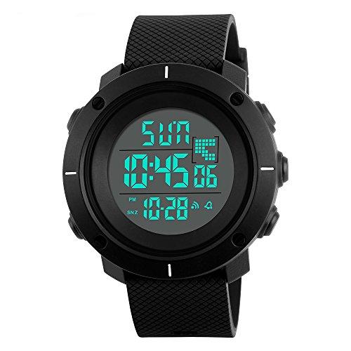 Timever(タイムエバー)デジタル腕時計 メンズ 防水腕時計 led watch スポーツウォッチ ストップウォッチ ダブルタイムなどの機能 5ATM防水 大文字盤 日本語取扱説明書付き