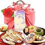 誕生日 の プレゼント 人気商品 おいもや どら焼き お菓子 食べ物 お祝いギフト ギフトセット(ピンク風呂敷・編み籠入り)