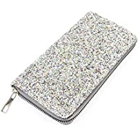 RIAH FASHION Rainbow Glitter Zip Around Wallet - Sparkly Confetti Single Zipper Clutch Purse with Card Slots