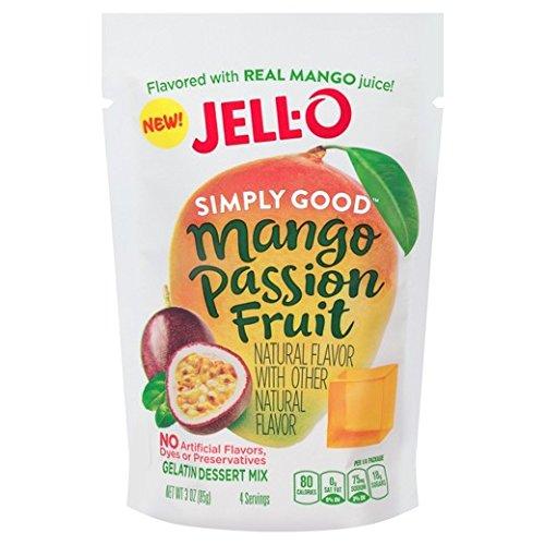 JELL-O Simply Good Mango Passion Fruit Gelatin Dessert Mix 80gx3袋 シンプリーグッドマンゴパッションフルーツゼラチンデザートミックス [並行輸入品]