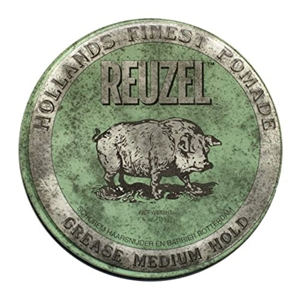どこでものぞき見格納REUZEL Grease Hold Hair Styling Pomade Piglet Wax/Gel, Medium, Green, 1.3 oz, 35g [並行輸入品]