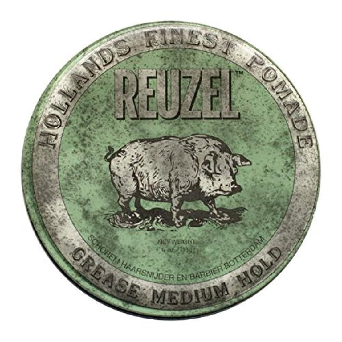 セメント長々と変位REUZEL Grease Hold Hair Styling Pomade Piglet Wax/Gel, Medium, Green, 1.3 oz, 35g [並行輸入品]