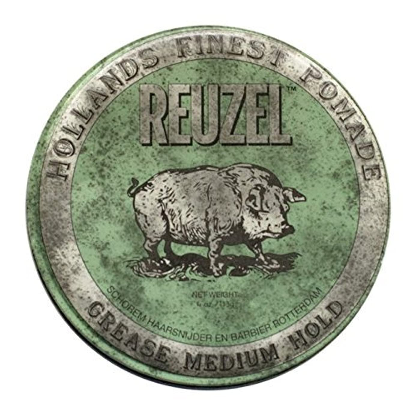 模索コンクリート天国REUZEL Grease Hold Hair Styling Pomade Piglet Wax/Gel, Medium, Green, 1.3 oz, 35g [並行輸入品]