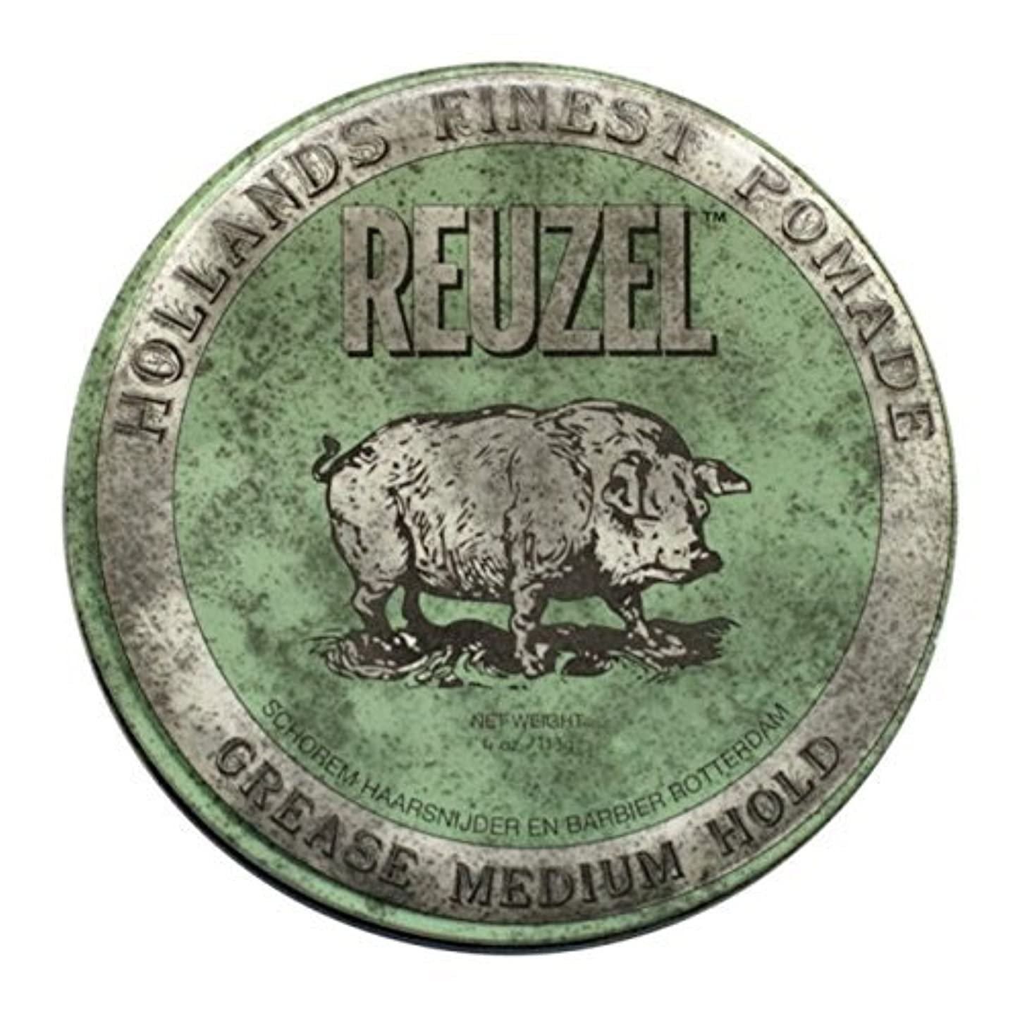 行商あいまい神話REUZEL Grease Hold Hair Styling Pomade Piglet Wax/Gel, Medium, Green, 1.3 oz, 35g [並行輸入品]