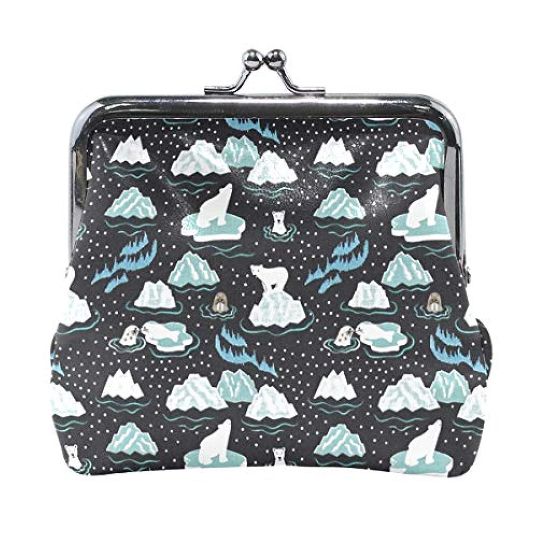 がま口 小銭入れ 財布 シロクマ ペンギン コインケース レザー製 丸形 軽量 人気 おしゃれ プレゼント ギフト 雑貨
