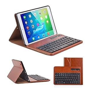 Ewin® ipad mini1 ケース/ipad mini2 ケース/ipad mini3 ケースキーボード付き Bluetooth分離式キーボード保護ケース 高品質PUレザー素材 スタンド機能付き bluetooth keyboard case (簡易日本語説明書と一年の保証付き) (ブラウン)