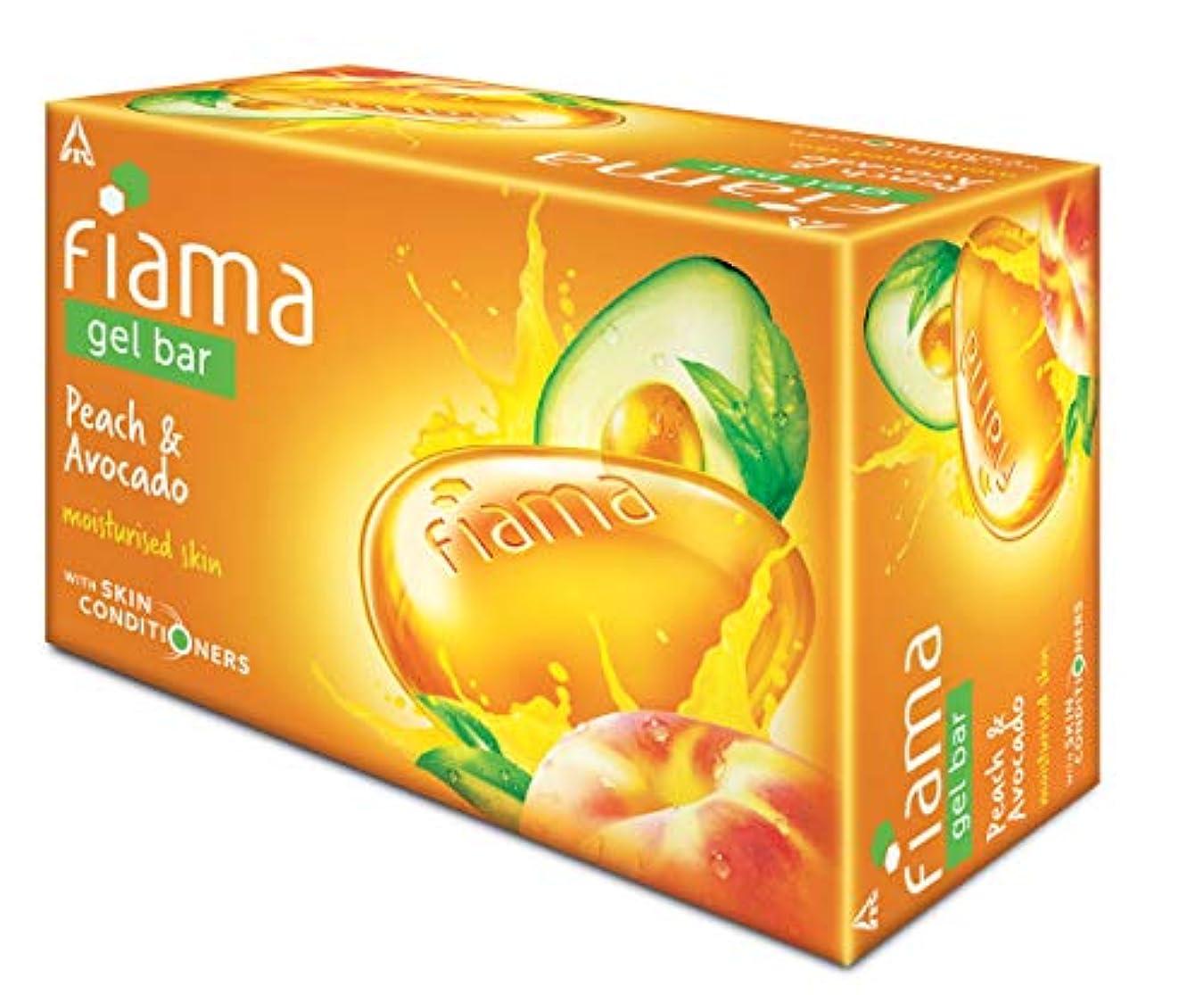 ケーブルカー願う最終Fiama Gel Bathing Bar, Peach and Avocado, (3 * 125g)