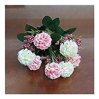 HeadsBouquet菊デイジーシルクフラワーカラフルなフェイク花の葉のホームガーデンパーティーの装飾フローレス クリスマスプレゼント フラワーギフト 花 誕生日 贈り物 (Color : D)