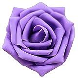 人工ローズ,SODIAL(R) 人工ローズPEシルクフラワー ウェディングブーケパーティーの装飾 紫