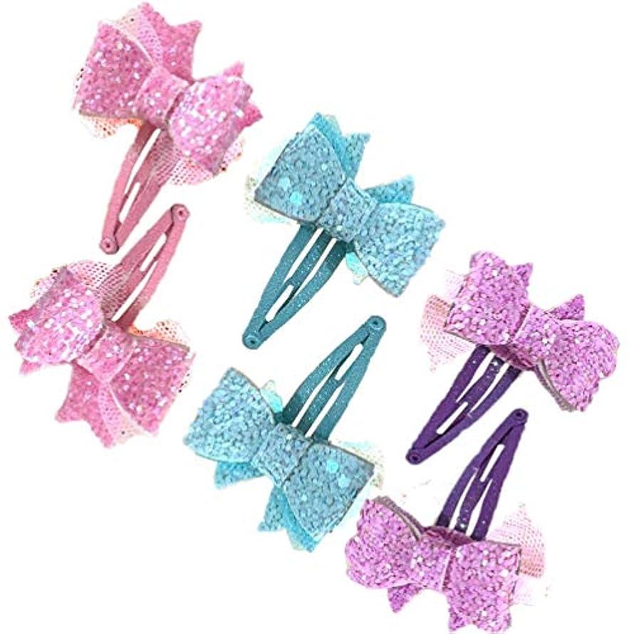 反響する愛するズームLurrose 3ペアちょう結びヘアクリップグリッタースパンコールヘアピン女の子帽子アクセサリー用ハロウィンパーティーの装飾