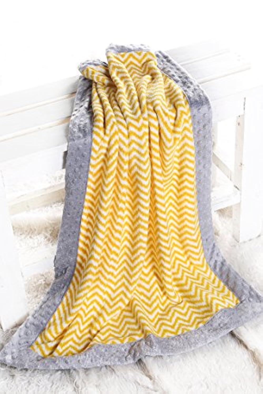 Bacati - Ikat Chevron with Grey Border Plush Blanket (Yellow Chevron/Grey Border) by Bacati