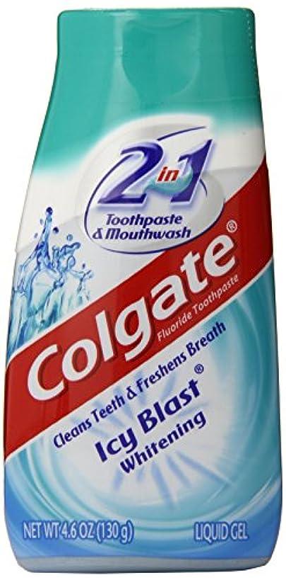 慣習硫黄強要Colgate 2-IN-1ホワイトニング歯磨き粉ゲルうがい薬、氷ブラスト - 4.6オンス 4.6オンス