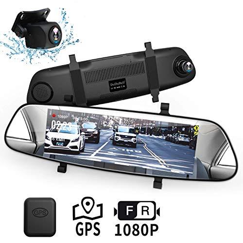 DuDuBell ドライブレコーダー 前後カメラ ミラー型 前後1080PフルHD 外付けGPS付 7インチタッチパネル スーパー暗視機能 HDRplus機能 前後170度レンズ 高速録画 高画質 F1.4広角レンズ AHD技術支持 バックナビあり エンジン連動 同時録画 Gセンサー 駐車監視 常時録画 ループ録画 防水 リアカメラ バックカメラ ミラーモニター ドラレコ M1