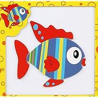 幼児期のゲーム 創造的な教育的な磁気パズルアーリーラーニング番号形状色の動物のおもちゃキッズのための素晴らしいギフト(魚)