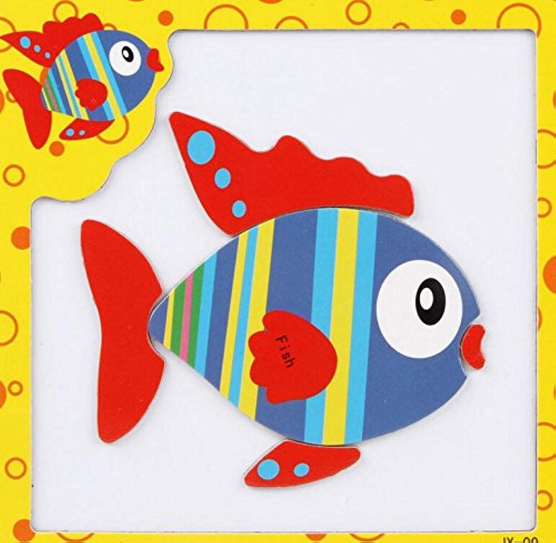HuaQingPiJu-JP 創造的な教育的な磁気パズルアーリーラーニング番号形状色の動物のおもちゃキッズのための素晴らしいギフト(魚)