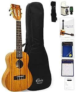 ELVIS エルビス ウクレレ コンサートサイズ ハワイアンコア材 スロテッドヘッド K100C ソフトケース付(国内保証書・チューナー・教則本・コードチャート・ギグバッグなど8点セット)