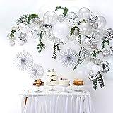 DIY Silver Balloons Garland Kit 70pcs Latex Balloons Silver Confetti Balloons Silver Foil Balloons Combination Arch Garland B