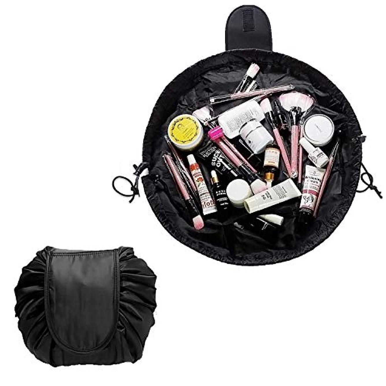 補助指導する必要HEARTEST 巾着 化粧 ポーチ マジックポーチ ポータブル旅行メイクバッグ 防水大容量の旅行化粧バッグ 超軽量 便利 旅行 (黒)