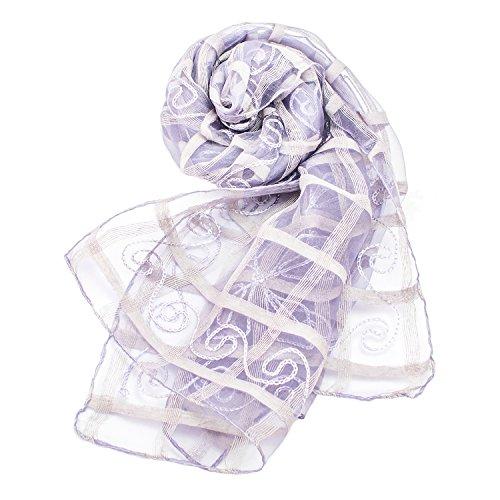 Confiance レディース ストール スカーフ シルク100% UVケア 乾燥対策 ギフト (パープル)