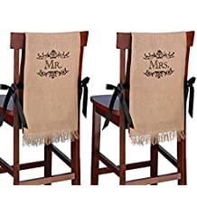 "Lillian Rose 40""x12"" Mr. & Mrs. Burlap Chair Covers"