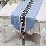 テーブルランナー ホームデコレーション 中国スタイル 工芸品 おしゃれ 結婚式 パーティー エレガント モダン シンプル (Color : Blue, Size : 33*230cm)