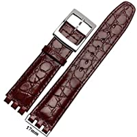 MSTRE np98 17 mm Calfskin Leather Watch Band Suitable for Men and Women見本Watches 17mm ブラウン