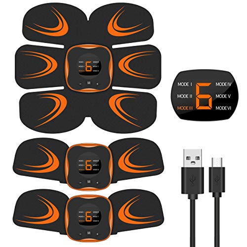 EMSIC EMS 腹筋ベルト USB充電式 液晶表示 腹筋トレーニング 筋...
