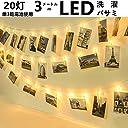 Globee 電池式 LED ガーランドライト 3m 20連 クリップ 型 写真やイラストを壁に飾れる インテリア ライト ワイヤー 輸入 雑貨 DIY アトリエ 常夜灯 室内灯