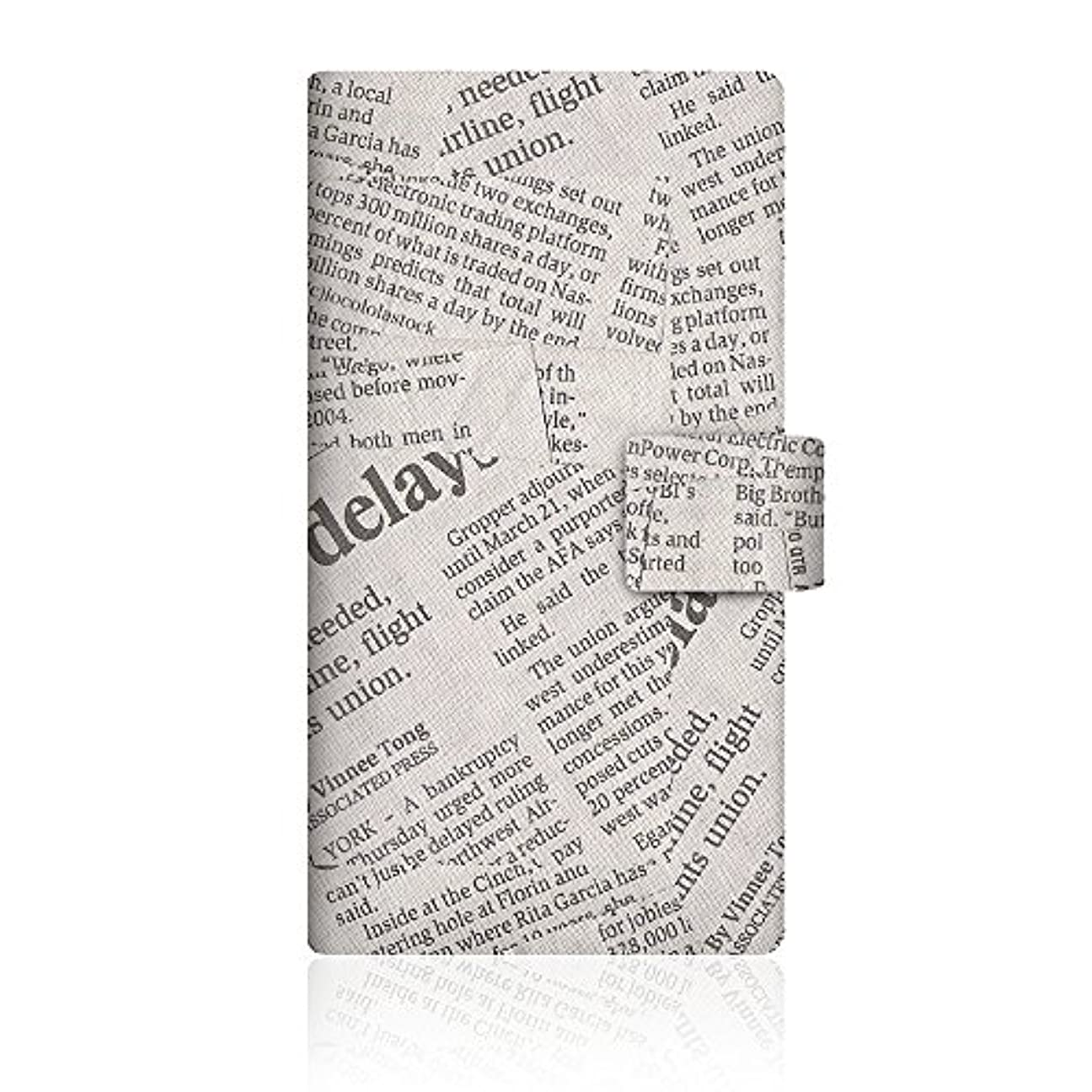 適合する褒賞スラム街CaseMarket INFOBAR (A02) 手帳型 オリジナルデザイン スリム ケース [ ニュースペーパー クラシック ノート - ホワイト ]