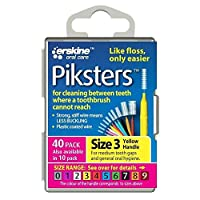 PIKSTERS 0.60 mm Size 3 Yellow Interdental Brush Pack of 40 by PIKSTERS