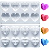 Amurgo 1 Pack Diamond Heart Silicone Mold for Chocolate, 8 Cavities Non-stick Easy Release Heart Shaped Silicone Mold Tray fo