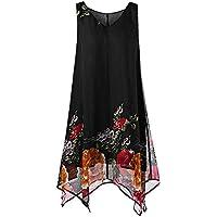 Qootent 2019 Women Beach Summer Dress with Painted Plus Print Sleeveless