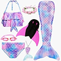 4pcs Show 8 6T 2019 4PCS/Set HOT Kids Girls Mermaid Tails with Fin Swimsuit Bikini Bathing Suit Dress for Girls with Flipper Monofin for Swim
