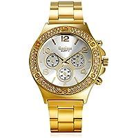 Men's Luxury Bling Double Dual Rhinestone Bezel Japan Quartz 30M Waterproof Gold Tone Bracelet Cuff Bangle Dress Unisex Watch (Gold)