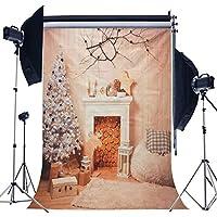 Prament 5x7フィートクリスマス暖炉クリスマスツリー支店ウッドブランケット写真バックスタジオスタジオプロップ背景 COD