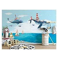 キッズ漫画シロナガスクジラ、リビングルームのキッチンウォールアートの装飾のポスターのための3D壁画壁紙250cm(W)x175cm(H)
