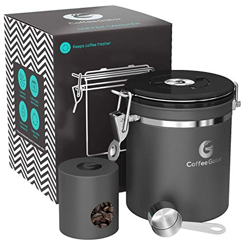[Coffee Gator] [ステンレススチールコンテナ - CO 2バルブ、スクープ、トラベルジャー付きキャニスター] (並行輸入品)