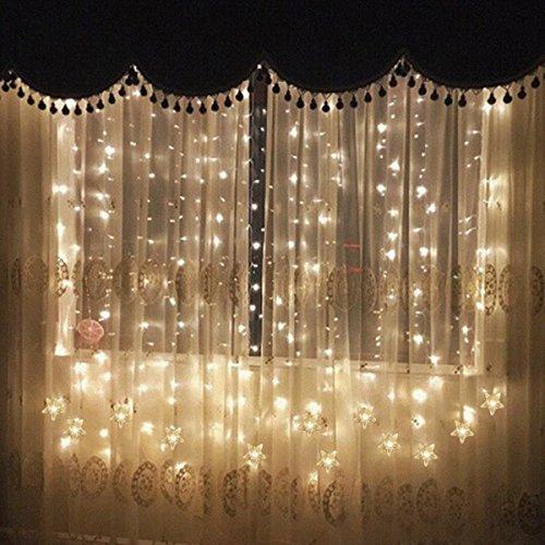 YINUO LIGHT イルミネーションLEDライト カーテンライト 星形飾り クリスマス イルミネーション 1.8x1.2m 100連 8点滅モデル 防水仕様 省エネルギー 「ウォームホワイト」